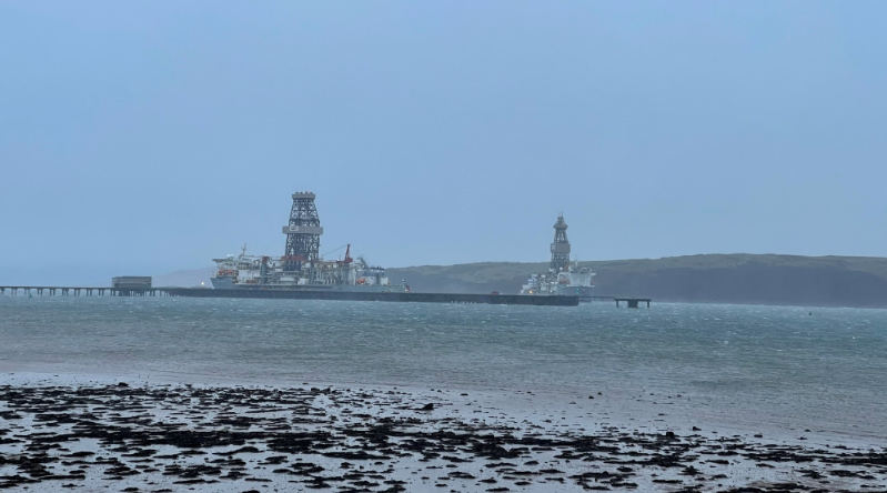 The two Valaris drillships at Hunterston. Credit: Friends of the Firth of Clyde.