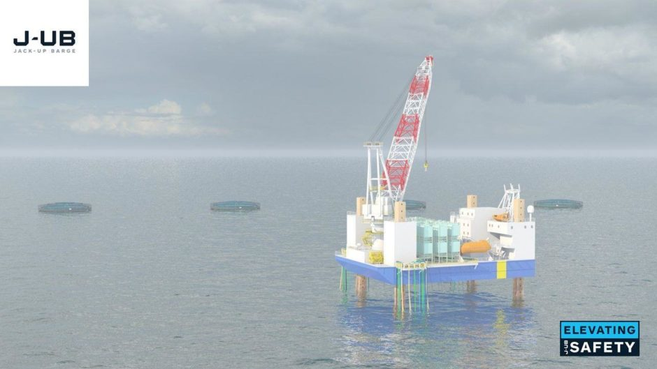 An artist's impression of J-UB's JB-119 vessel in the centre of a fish farm.