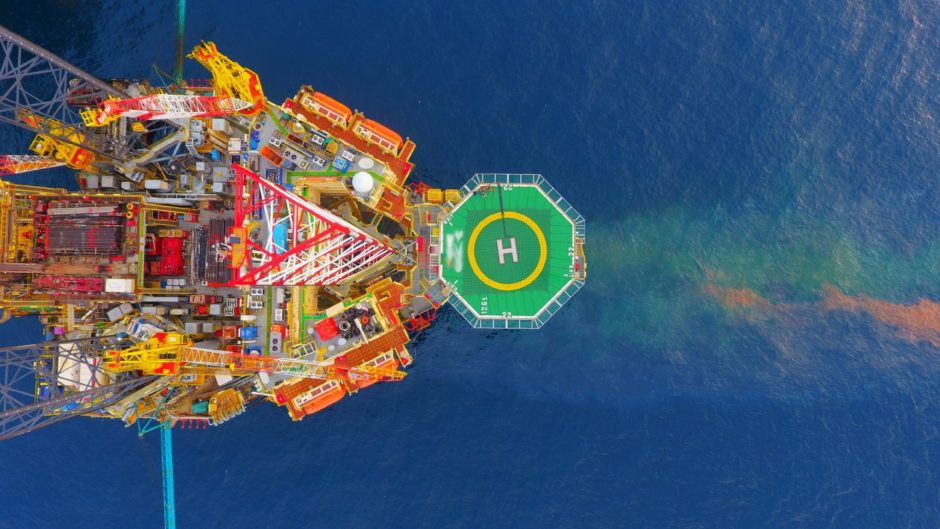 Areal photography from top view of jack up rig