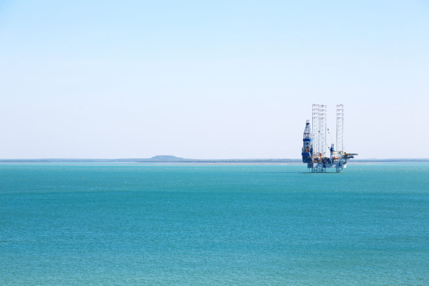 A rig at work offshore Australia