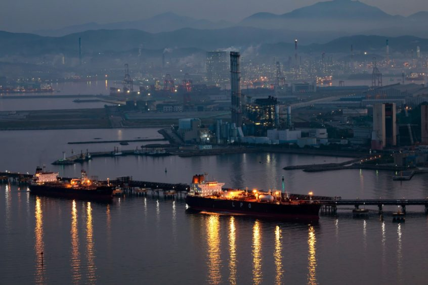 SK Innovation'ss oil refinery facilities in Ulsan, South Korea.