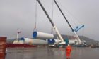 Components for Glen Kyllachy being unloaded in Inverness.