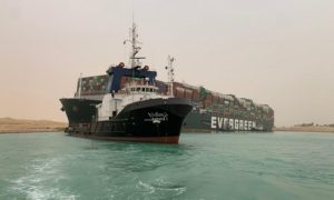 The Suez Canal has been effectively closed as a 400-metre long container ship ran aground on Tuesday, causing a traffic jam of ships.