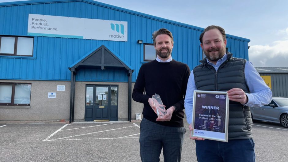 Northern Star business of the year winners Eddie Moore, group business development director; and Declan Slattery, chief financial officer, at Motive Offshore