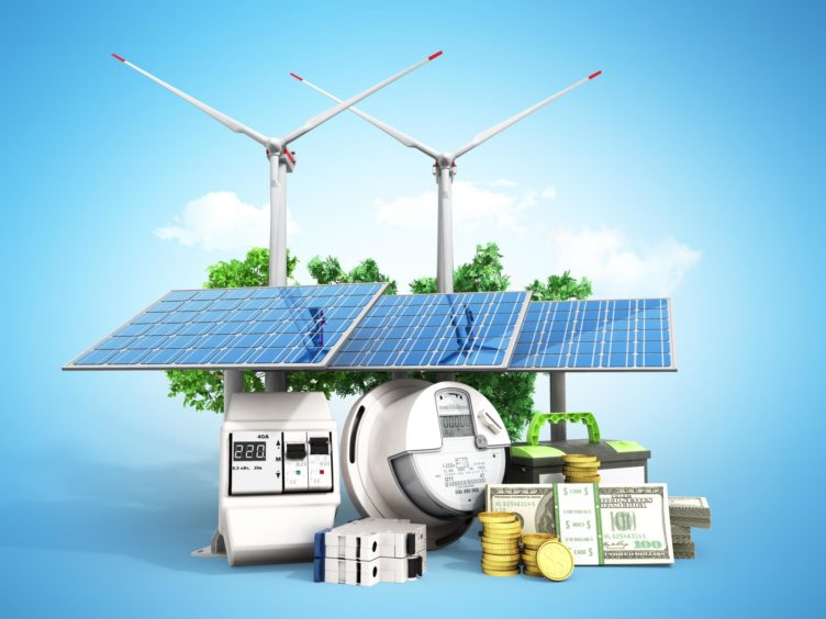 concept of energy saving solar panels and a windmill near the meter of electricity 3d render on blue; Shutterstock ID 1007816836; Purchase Order: EV supplement; Job: Deloitte column; 4bb704c4-7ca7-455c-9c64-2465938f7887