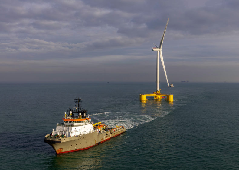 Boskalis towed out the first of its five turbines from the Netherlands to Aberdeen in December.
