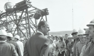 HRH The Prince Philip, Duke of Edinburgh, talking to workers during a visit to Highlands Fabricators' yard at Nigg Bay.
