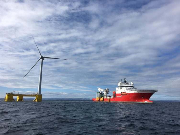 Global Marine Group's CS Sovereign working close to a Pemex offshore wind platform.