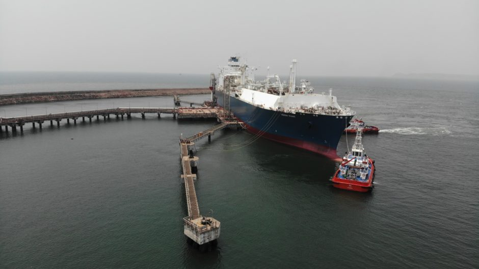The Hoegh Giant FSRU: berthed at H-Energy's Jaigarh terminal