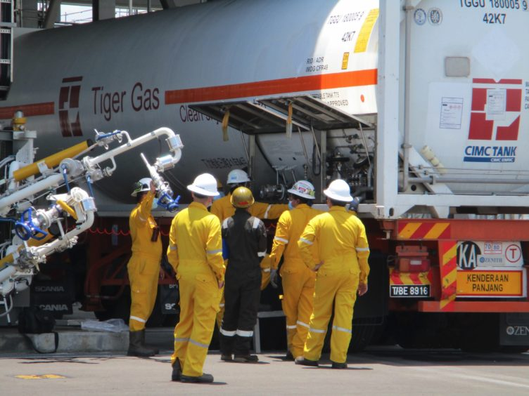 Filling up: Tiger Gas fills up an ISO tank with LNG from Petronas in Malaysia