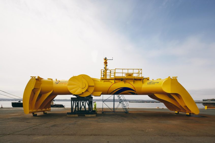 Mocean's Blue X wave energy converter in Rosyth.