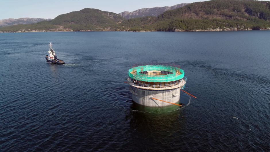 11 substructures are transported from the Aker Solutions yard at Stord to the deep-water site at Dommersnes. (Photo: Woldcam / Equinor ASA)