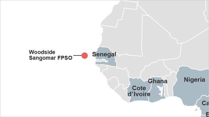 Map of Sangomar project offshore Senegal