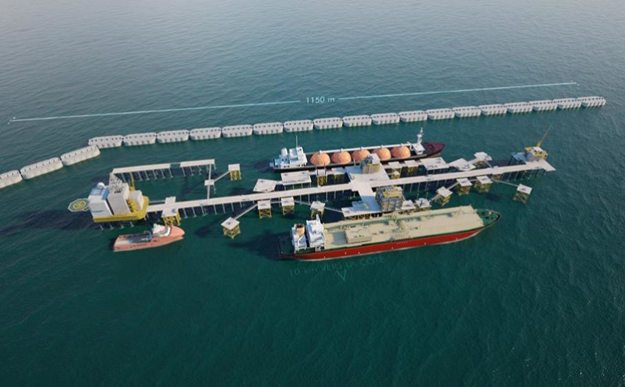 Aerial view of breakwater and LNG tanker at FLNG facility