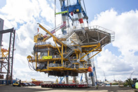 Images: IOG shares impressive snaps of Blythe platform being loaded onto barge