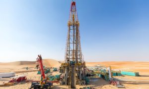 A drilling rig in the desert