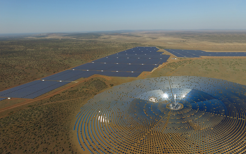 Aerial shot of a CSP plant
