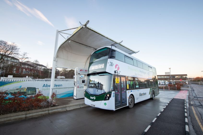 A hydrogen-powered bus in Scotland.