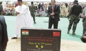 A plaque marking the start of the Niger-Benin pipeline