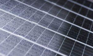 Rain droplets cover solar panels