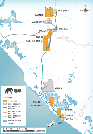 Map showing Assala's Gabon assets