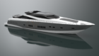 Rendering of yacht on grey background