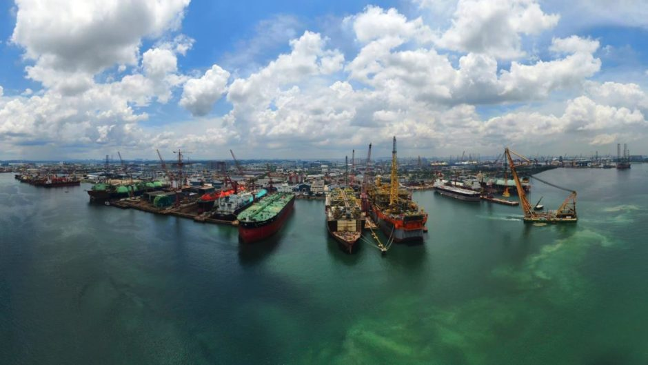 Keppel Offshore & Marine Shipyard Arial View. Singapore. Supplied by Keppel