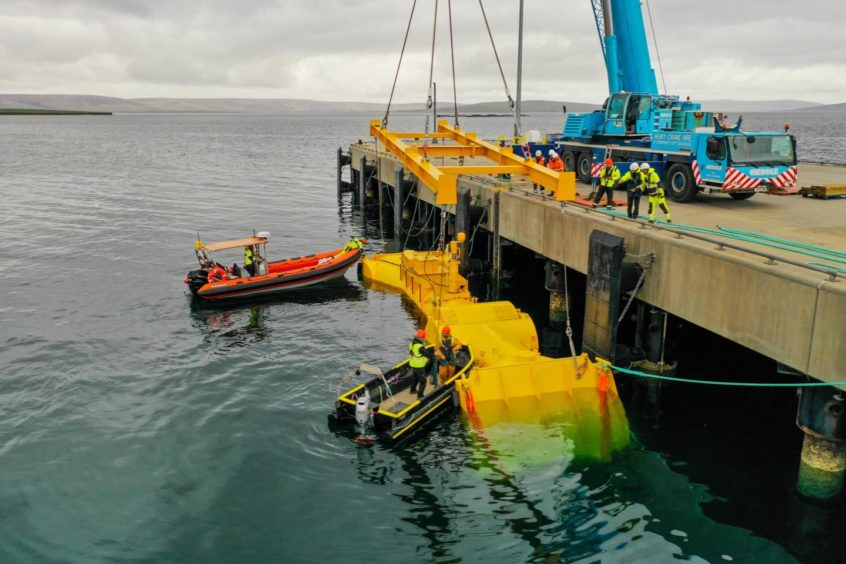 The Blue X wave energy device at Kirkwall, Orkney.