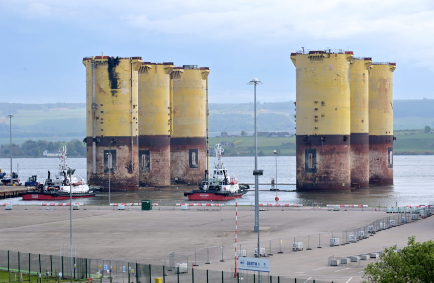The Hutton TLP sitting at Queen's Dock, Port of Cromarty Firth. Pic: Sandy McCook
