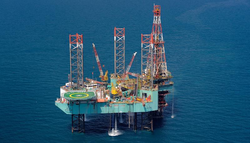 Platform floating in a blue sea