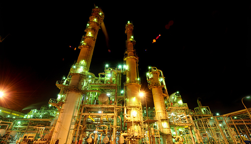 Industrial plant lit up at night