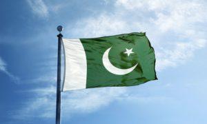 Pakistan flag flutters in the wind.