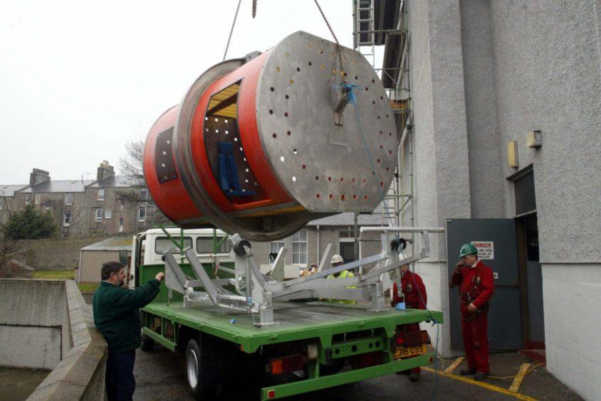 The original HUET simulator at RGIT in King St being taken to Altens.