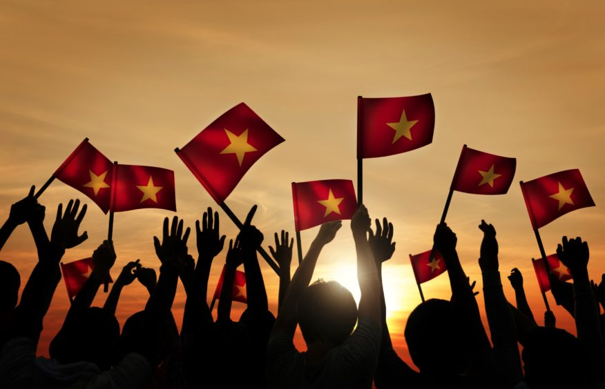 A group of people waving Vietnamese flags.