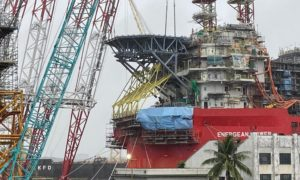 The helideck is installed on the Energean Power in January 2021