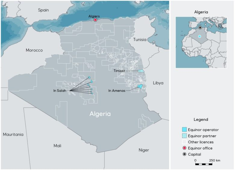 Map showing Equinor assets in Algeria