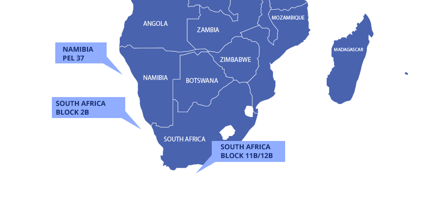 Map showing licences in Namibia and South Africa