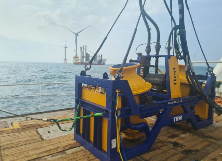 Rotech Subsea's TRS1 jet trenching tool being used for an offshore wind project offshore Taiwan.