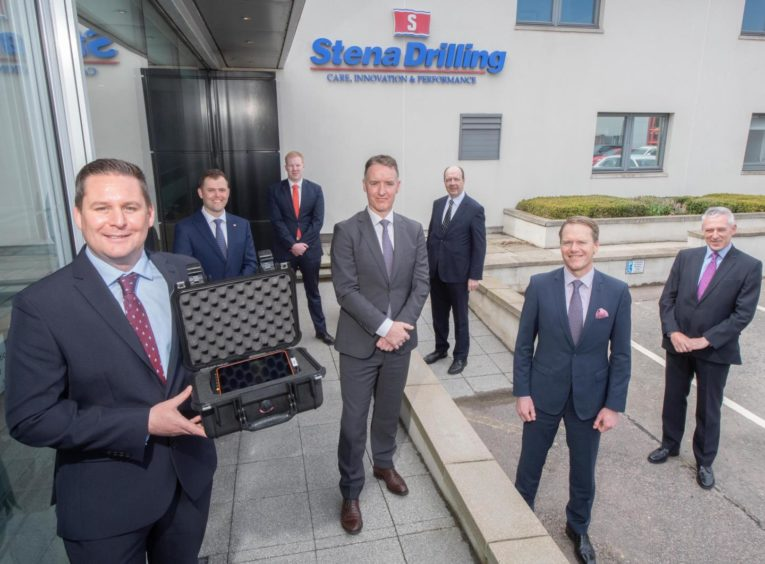 Ross McLeod (front left) along with members of Stena Drilling.