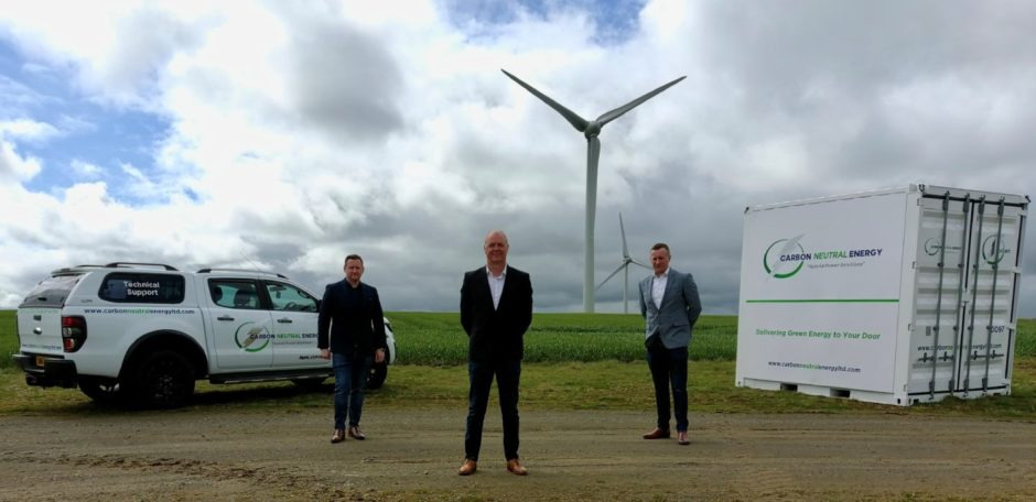l-r Harry Patterson, Gary Wilson and Philip Patterson of Carbon Neutral Energy.