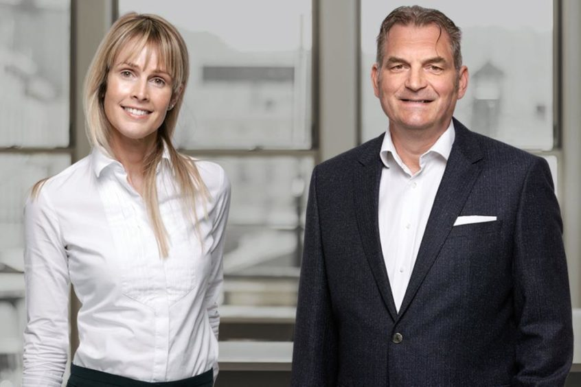 Amanda McCulloch, TMM chief executive with Jock Gardiner, chairman.