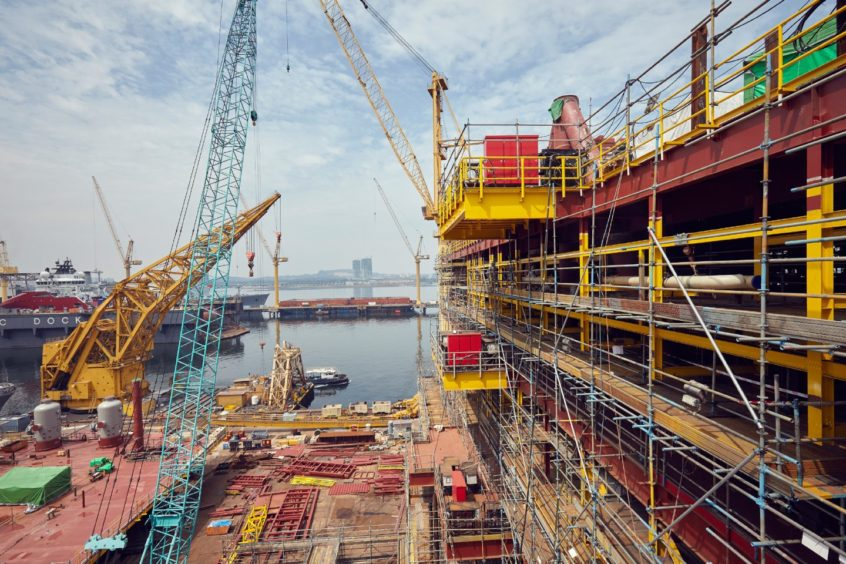 Topsides for TotalEnergies' Culzean field under construction at Sembcorp Marine's  Admiralty Yard in Singapore.