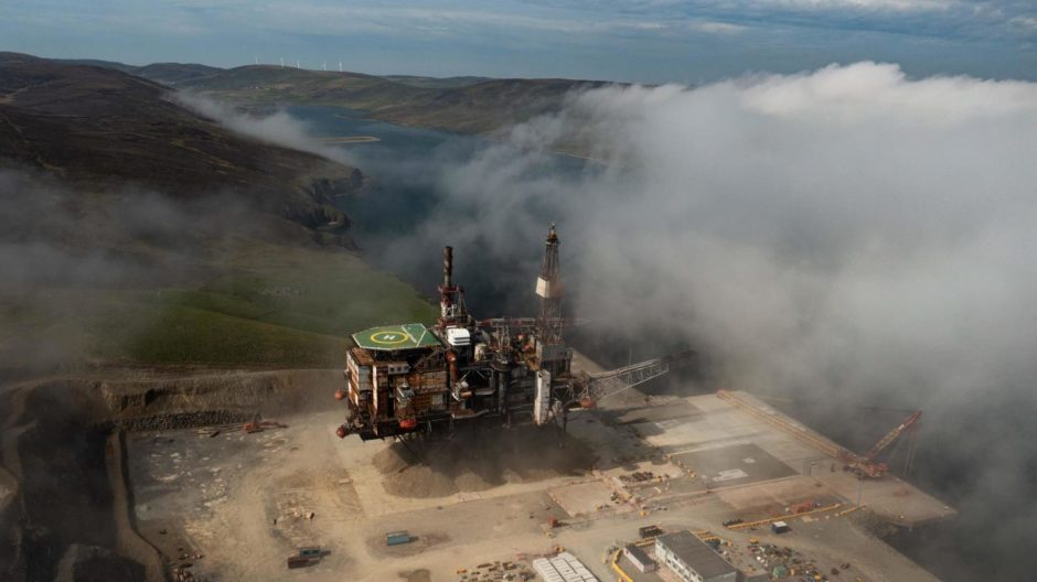 A photo, taken using a drone, of Ninian Northern before its legs were blown off.