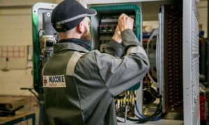 A Nucore engineer in the Aberdeen workshop.