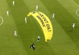 Watch: 'Own goal' for Greenpeace as Euros anti-oil stunt leaves fans in hospital