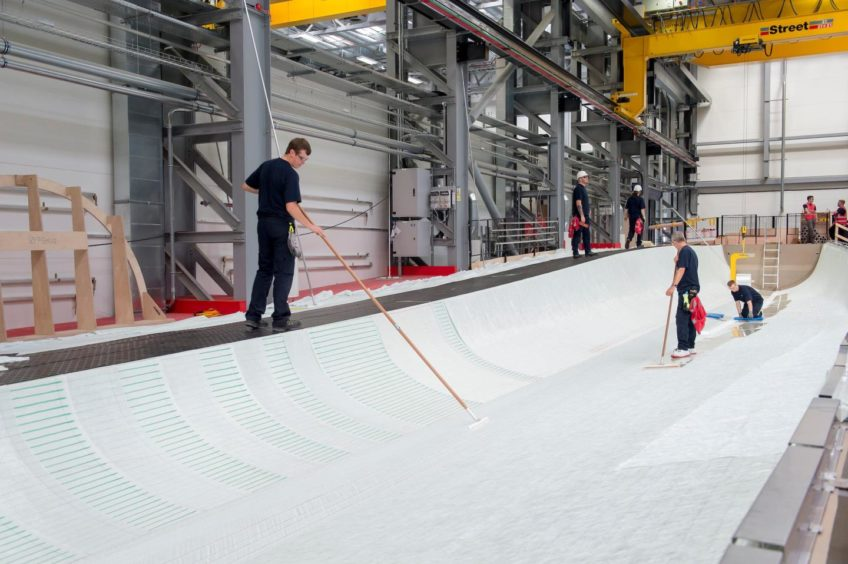 The wind turbine blade mould at Siemens Gamesa's factory in Hull.