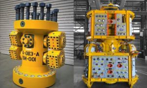 Interventek's open-water Revolution safety valve, left, and its TRIDENT Modular Subsea Intervention System.