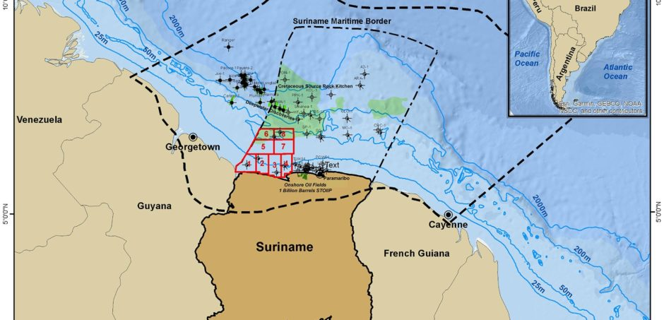 Map showing Suriname's eight blocks available in bid round