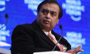 Mukesh Ambani, billionaire and chairman and managing director of Reliance Industries Ltd., pauses during a panel session at the World Economic Forum (WEF) in Davos, Switzerland, on Tuesday, Jan. 17, 2017. Photographer: Simon Dawson/Bloomberg