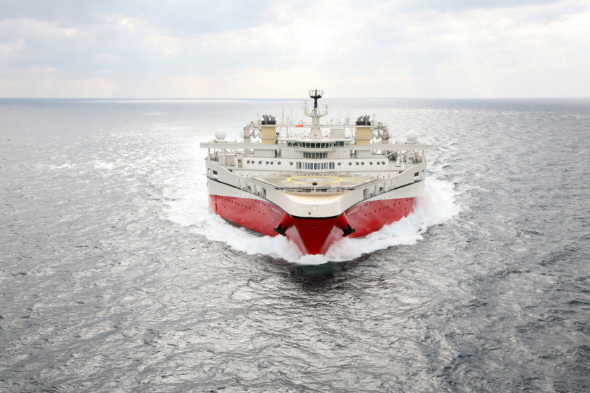 A seismic vessel in the water